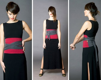 Dual color Obi belt, Wrap belt, Wide belt, Wrap top, Waist belt, Corset, Waist cincher, Cloth belt, Japanese clothing, gift for her