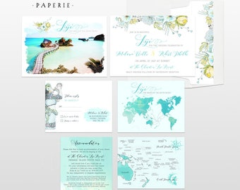 Destination wedding invitation Pacific Islands Oceania Fiji Tahiti Samoa Solomon Tonga Bora Bora illustrated wedding cards Deposit Payment