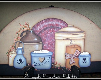 Door Crown/Topper Primitive Crocks Candles Hand Painted Art Home Decor