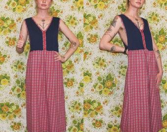 Retro Mid Century Womens Sleeveless Dress. Zip Up 80s Dress. Vintage Plaid Dress. Vintage Navy Dress. Retro 80s Plaid Sleeveless Small Dress