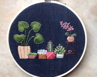 Botanic Embroidery Hoop Art, plants, cactus, flowers, orchid, home decoration.