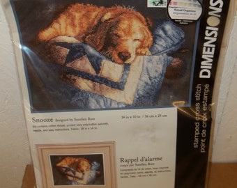 New In Package Dimensions Yellow Lab Cross Stitch Kit-Snooze-Designed by Sueellen Ross