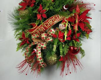RAZ Elf Christmas wreath, Christmas Elf wreath, Whimsical Christmas wreath, Traditional Christmas wreath, Christmas decor, Red, Green, Gold
