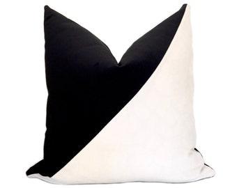 Slash Velvet Pillow Cover - Black and White - Diagonal Pillow - Color block - Black Pillow - White Pillow - Decorative Pillow - Throw Pillow