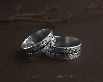 Sterling silver leaf ring, wedding bands, elvish engagement ring, leaf imprint, forest wedding, rustic wedding ring, woodland ring,mens ring