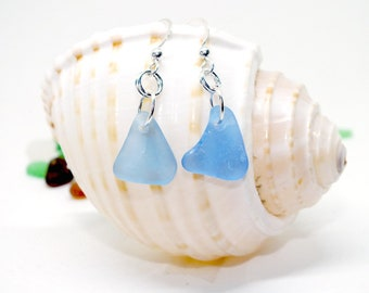 Blue Sea Glass Earrings, Sea Glass Jewelry, Pierced Earrings, Sea Glass, Lake Erie Beach Glass, Beach Wedding,  Mothers Day, Beach Gift