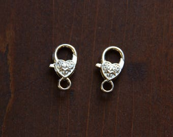 Antique Silver Lobster Claws with Heart Detail - FIND 034