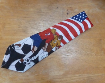 Soccer and Players USA sports necktie