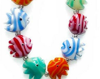 10 pieces Striped Fish Beads, Lampwork Glass Beads, multiple colors