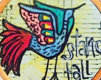 Stand tall solid wood bird artwork,  boho style wall decoration, bird artwork on solid wood, colorful boho style bird art boho, folk art