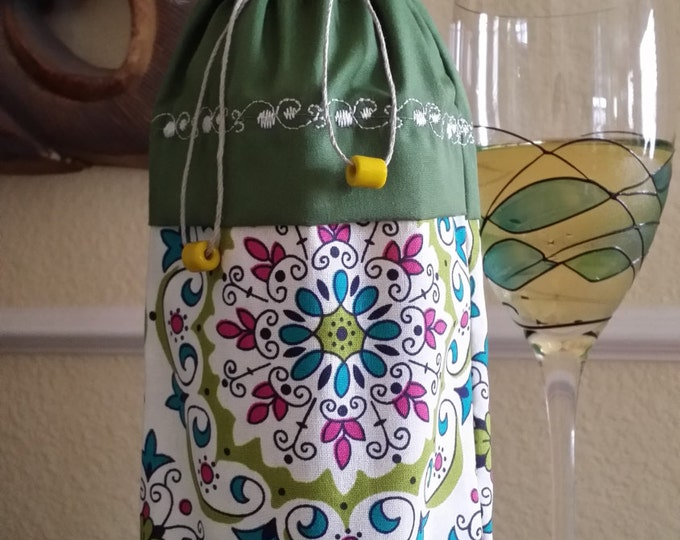 Wine Bag-Deluxe-Whimsical Collection (Olive)