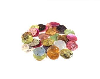 30 round connectors / shells natural multicolored shell discs approximately 15mm