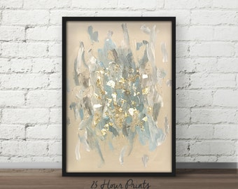 Instant Download Blue Grey Gold Leaf Art, Abstract Painting, Boho Art, Above Bed Decor, Blue Abstract Poster, Abstract Coastal Art