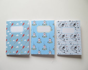 Pack of Pocket size Journals - Kites Books & Music Pack of 3 Notebooks - A6 - Blank Pages
