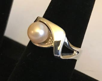 pearl ring, freshwater pearl ring, sterling silver pearl ring