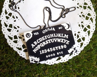 Black Ouija Board Brooch Necklace // quirky, gift, occult, Goth, pastel goth, rockabilly, witch, supernatural