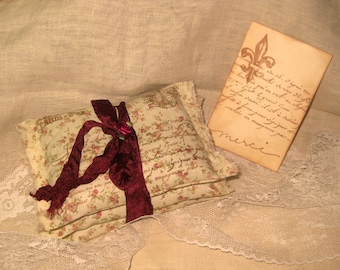 Vintage French Script Floral Eiffel Tower Sachet Handmade and Hand Stamped Filled with Provence Lavender Ooh La La