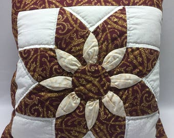 Quillow / Quilt and Pillow in One / Paisley Print / Quilted Star