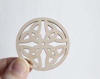 SET OF 5 - Wooden circle shape pendant /earrings base for jewelry making, unfinished jewel base, jewel supply, wooden pendant - KF-1