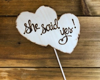 She said yes • Double Heart Cake Topper • Wedding Engagement Anniversary Photo Prop Soulmates Boyfriend Girlfriend • engaged • party