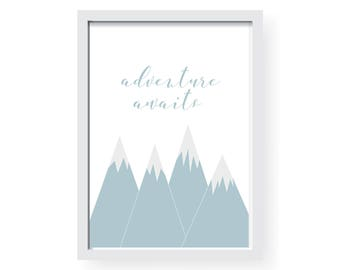 Adventure Awaits | Mountains | Print | Pink Grey Blue | Wall Art | Graphic Design | Home and Decor