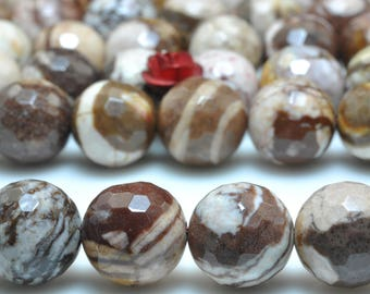 37 pcs of Natural Europe Brown Zebra Jasper faceted round beads in 10mm (06089#)