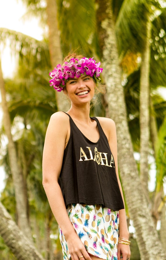 Black Aloha Crop Tank / Organic Cotton Collection