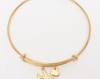 Gold or Silver Love Travel Bracelet, Airplane & Heart Bangle, Pilot Bracelet, Flight Attendant Bangle, World Traveler, Study Abroad Gift