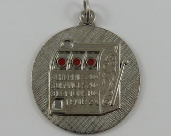 Enamel Slot Machine Sterling Silver Vintage Charm For Bracelet