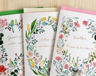3 Note cards set, flower note cards, set of illustrated greeting cards, langage des fleurs cartes set, set di biglietti illustrati