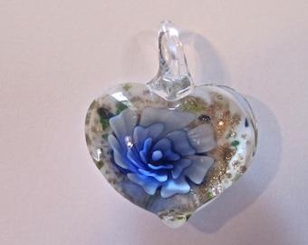 Blue Heart Glass Lampwork Bead Pendant