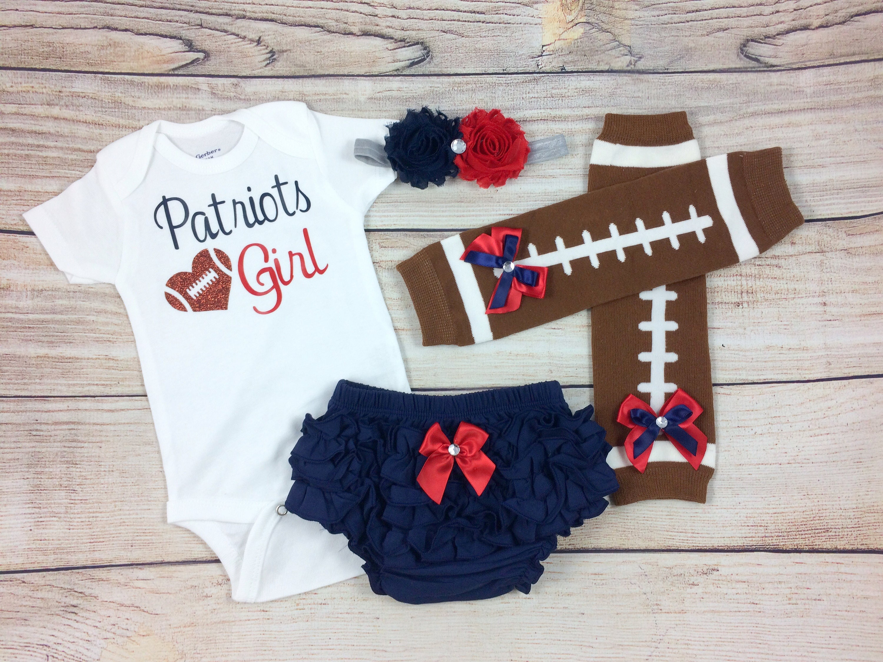 Patriots Girl Baby Football Outfit Cheerleader Game Day