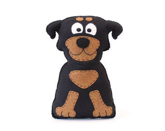 Rottweiler Sewing Pattern, Felt Rottweiler Plush Stuffed Animal Pattern, Rottie Plushie Pattern, Dog Hand Sewing, Rottie Stuffie
