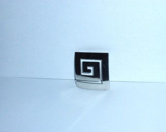 Vintage Sterling ATI Mexico Stamped Large Modernist Square Pendant.