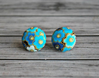Fabric button earrings , fabric button studs , button earrings , fabric , button ,  sakura , ladies earrings , Australia