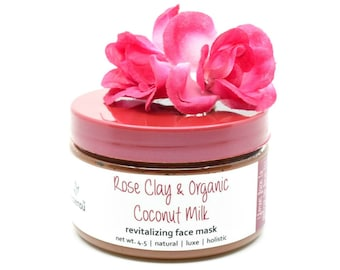 Organic Rose Clay Coconut Milk Revitalizing Vitamin Enzyme Face Mask | Detox Pores | Anti Age | Brighten Skin | Blemished Skin Mask - 4.5 oz