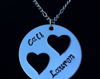 Double Heart Necklace - Personalization Optional