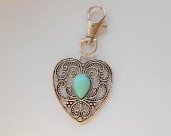 Heart Keyring, Heart Key Chain, Turquoise Keychain, Valentine Keyring, Valentine's Gift