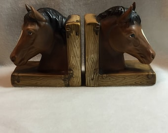 Lefton Brown Horse Head Bookends (#232)