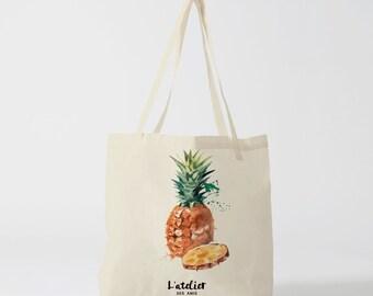 X39Y Tote bag pineapple canvas tote bag, shopping bag, bag courses, computer bag, gift bag, bag to the market tote bag