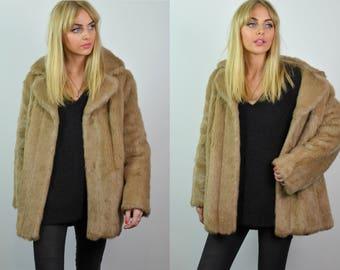 Vintage 60s Light Blonde Brown Faux Fur Jacket / Coat