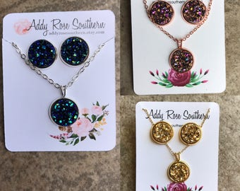 Druzy earring and necklace set, druzy necklace, druzy jewelry, druzy earrings, blue druzy necklace , rose gold druzy necklace