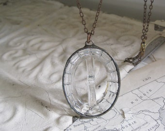 Clear Glass Belt Buckle Necklace One of a Kind Jewelry