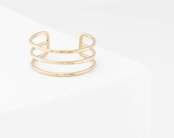 Modern, Triple Band Cuff Ring • Delicate, Layered Ring • Dainty Stacking Ring • Custom Handmade 14k Gold Fill or Silver by GLDN • Lieve Ring