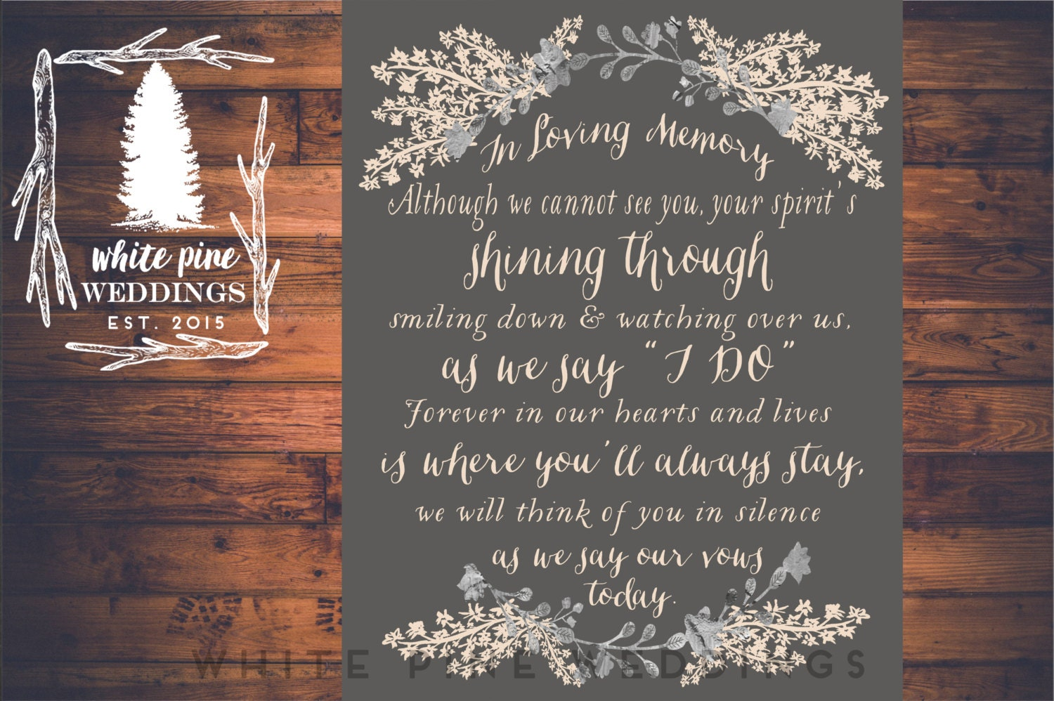 printable wedding memorial sign in loving memory
