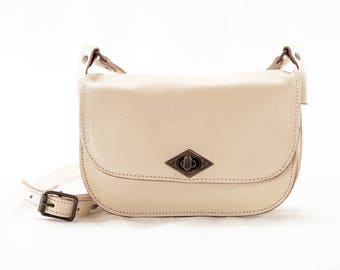 Swedish handmade NORDISKO VAKSALA leather bag - nature white