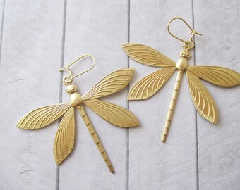 Golden dragonfly earrings Gold insect earrings Brass Nature Wedding Bridesmaids Bridal Gifts for her Women Hair accessories
