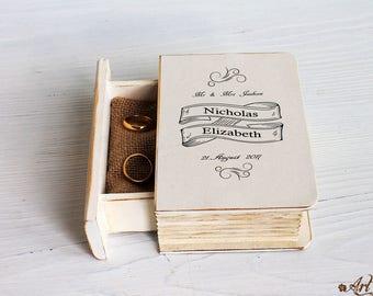 Wedding Ring Box, Wedding vow, Rustic Ring Box, Ring Holder, Custom Ring Box, Personalized Ring Box, Еngagement ring box, Pillow Rustic