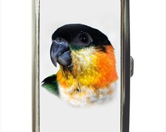 Black Capped Cap Caique Parrot Bird Money Cigarette Case Chrome Holder Wallet