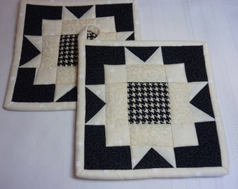 Cream and Black Sunflower Pot Holder Pair